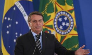 O presidente Jair Bolsonaro, participa do lançamento dos programasCODEX e SUPER.BR e do 8º Revogaço no Palácio do Planalto.