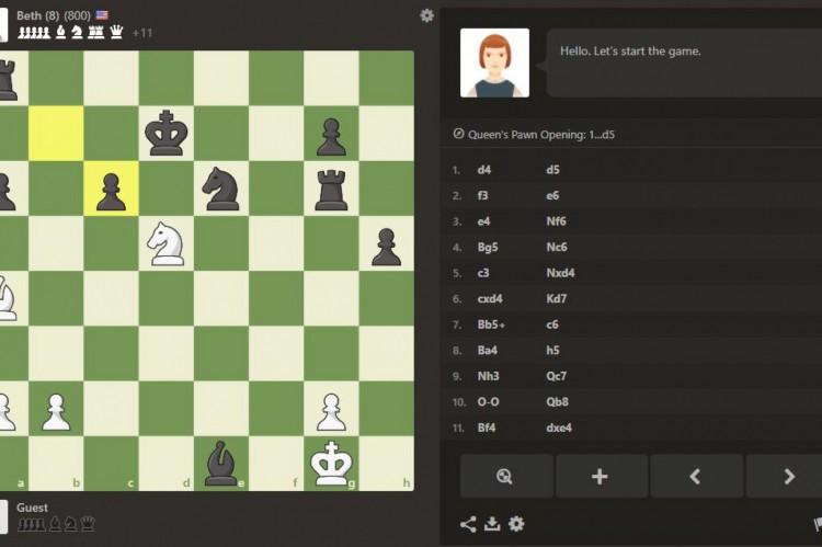 """Aplicativo permite que usuários desafiem Beth Harmon, protagonista da série """"O Gambito da Rainha""""."""
