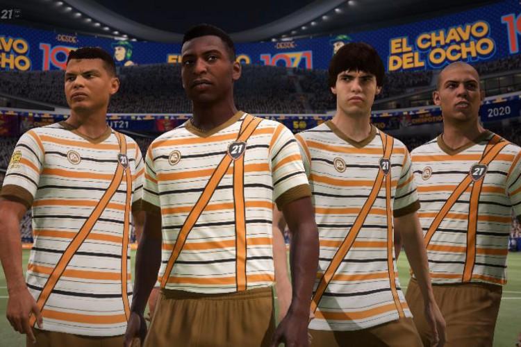 Thiago Silva, Pelé, Kaká e Ronaldo vestidos com o uniforme do Chaves, que pode ser obtido no game até 13 de dezembro.  (Foto: Divulgação/EA)