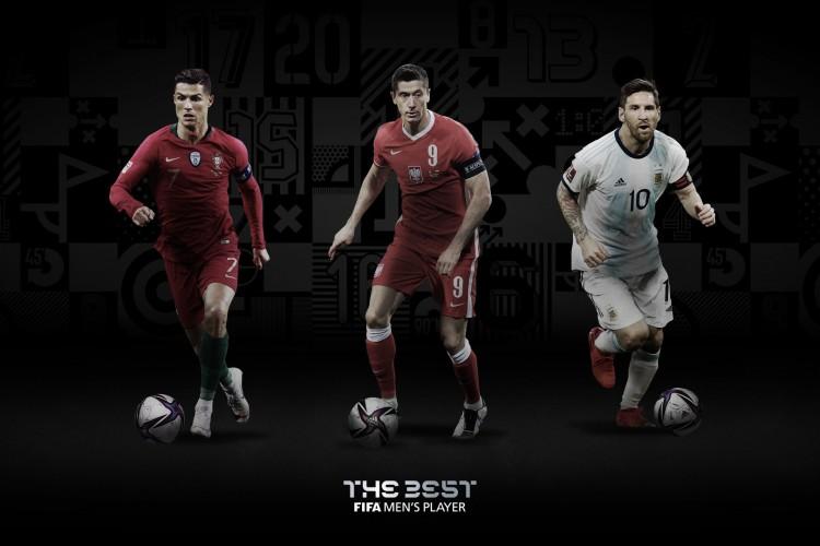 Cristiano Ronaldo, Lewandowski e Messi são os finalistas ao prêmio The Best (Foto: Reprodução / FIFA)