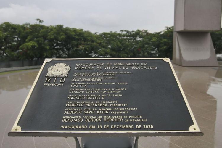 Inauguração do Monumento em Memória às Vítimas do Holocausto, no Morro do Pasmado, zona sul do Rio de Janeiro. (Foto: Tânia Rêgo/Agência Brasil)