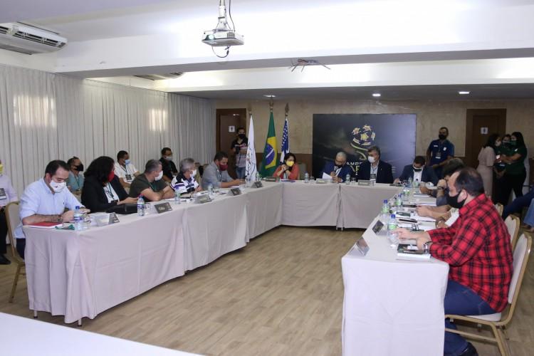 Reunião do Conselho Técnico do Campeonato Cearense Série A 2021 (Foto: Pedro Chaves / FCF)
