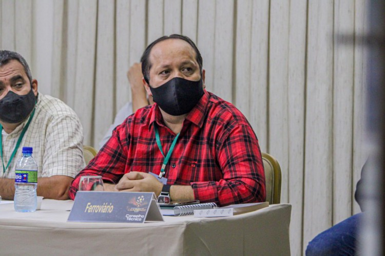 Presidente Newton Pereira Filho, do Ferroviário, durante Conselho Técnico do Campeonato Cearense Série A 2021 (Foto: Lenilson Santos/Ferroviário)