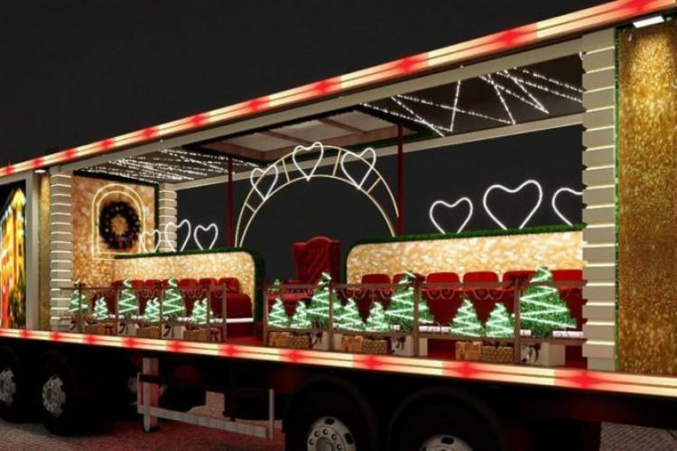 Caminhão iluminado vai transportar coral itinerante por Fortaleza (Foto: Divulgação/Ceará Natal de Luz)