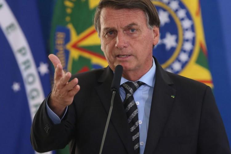 O presidente Jair Bolsonaro, participa do lançamento dos programas CODEX e SUPER.BR e do 8º no Palácio do Planalto. (Foto: Fábio Rodrigues Pozzebom/Agência Brasil)