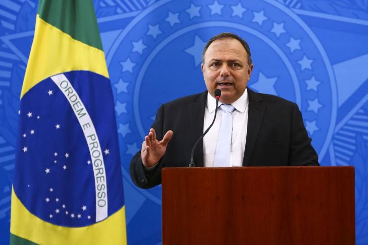 O ministro da saúde, Eduardo Pazuello, durante declaração no Palácio do Planalto. (Foto: Marcelo Camargo/Agência Brasil)