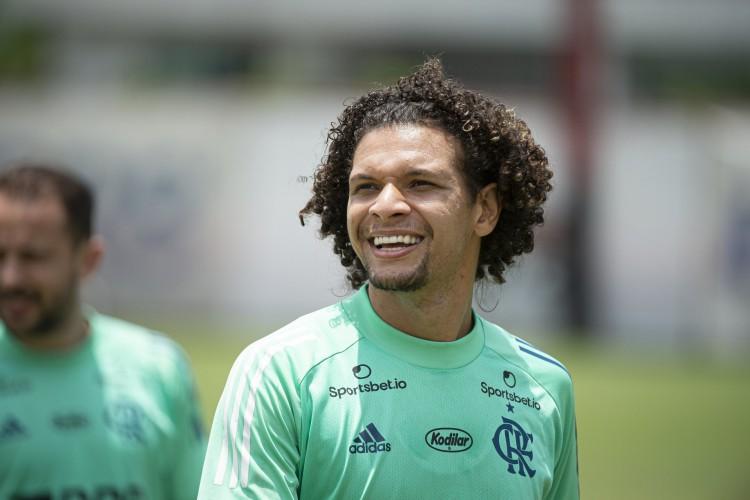 Volante Willian Arão durante treino do Flamengo no CT Ninho do Urubu (Foto: Alexandre Vidal / Flamengo)