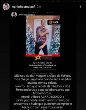 Postagem feita pela cerimonialista do evento e repostada por Carlinhos Maia