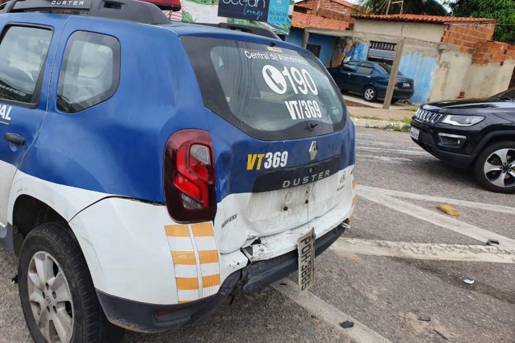 Carro com motorista com sinais de embriaguez colide com outros dois veículos, um deles, uma viatura da Guarda Municipal. Foto: Guarda Municipal de Fortaleza (Foto: Foto: Guarda Municipal de Fortaleza)