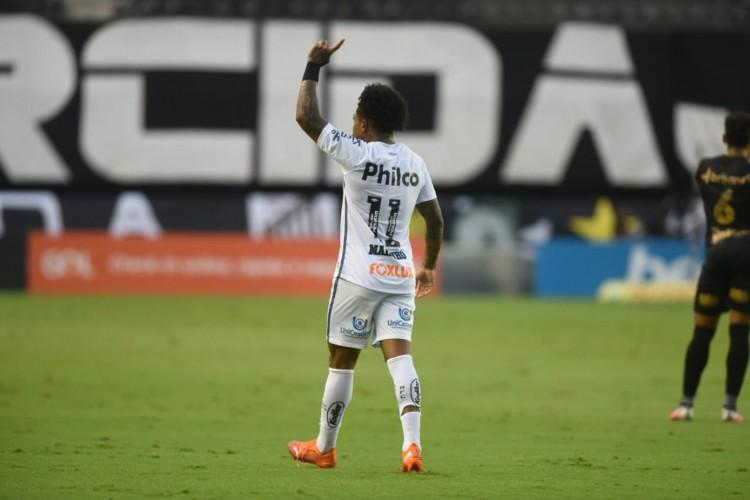 Atacante Marinho comemora gol no jogo Santos x Ceará, na Vila Belmiro, pelo Campeonato Brasileiro Série A (Foto: Ivan Storti/Santos FC)