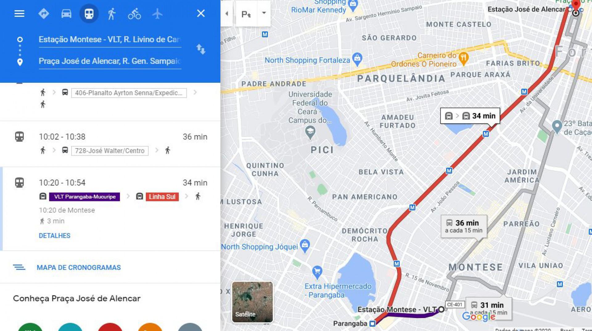 Rotas e horários do Metrofor são inseridos no Google Maps e Microsoft Bing Maps