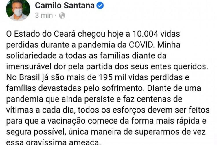 Governador do Ceará, Camilo Santana (PT), lamenta marca de 10 mil mortes por coronavírus no Estado (Foto: Reprodução/Facebook)