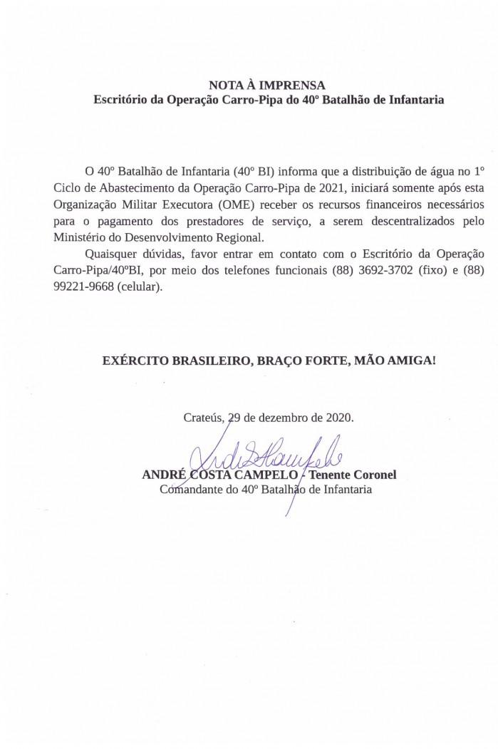 Documento em que pipeiros dizem ter tomado conhecimento da suspensão do serviço por falta de verba federal para operação pipa