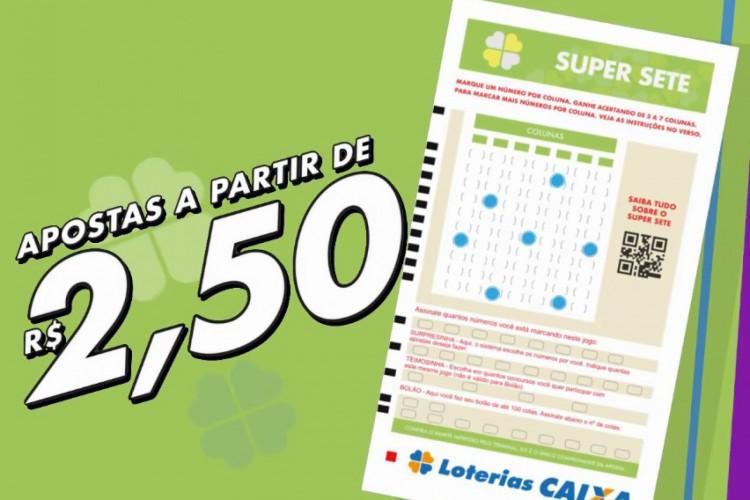 Super Sete Concurso 39 foi divulgado na tarde de hoje, quarta-feira, 6 de janeiro (06/01). O prêmio está estimado em R$ 1 milhão (Foto: Divulgação/CEF)