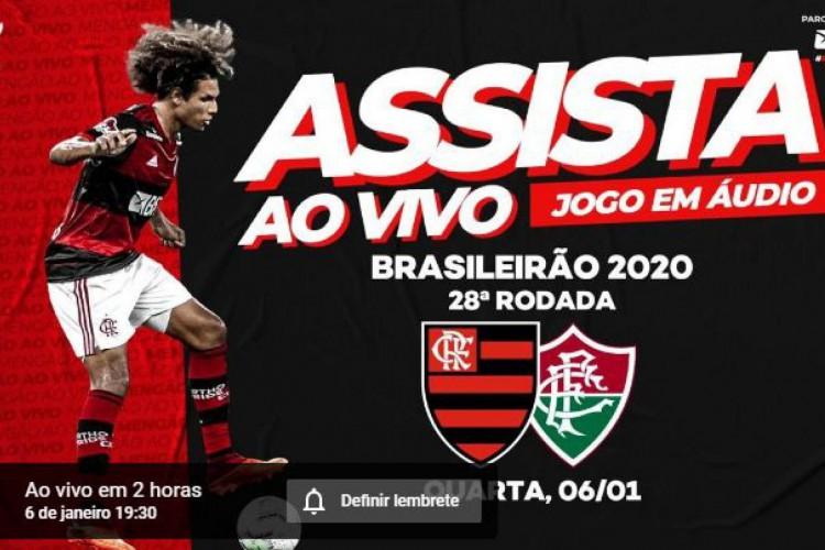 YouTube Fla TV, assim como a Flu TV, fará hoje a transmissão ao vivo, sem imagens, de Flamengo x Fluminense, pelo Brasileirão (Foto: Reprodução/ YouTube Fla TV)