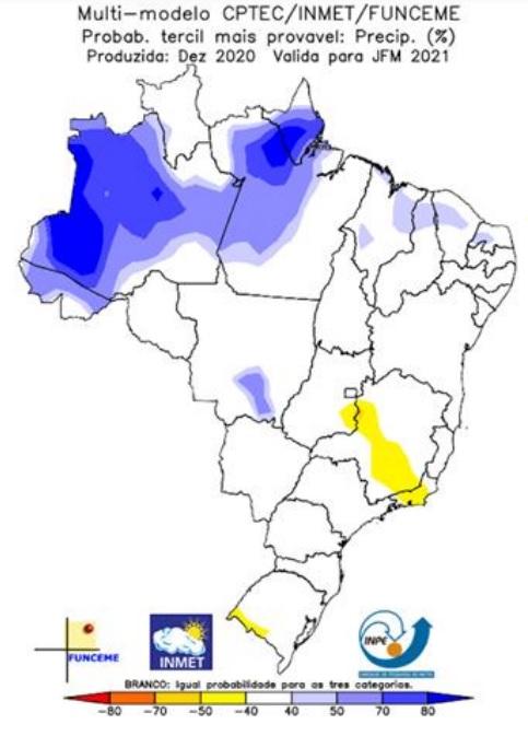 Mapa em nota técnica divulgada pelo Inpe aponta previsão de chuvas acima da média em algumas regiões do Ceará.