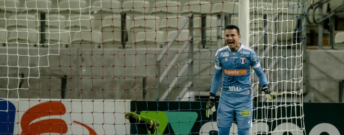 Felipe Alves foi decisivo para o Fortaleza contra o Ceará pela Copa do Nordeste, no primeiro Clássico-Rei de 2021 (Foto: Aurelio Alves)