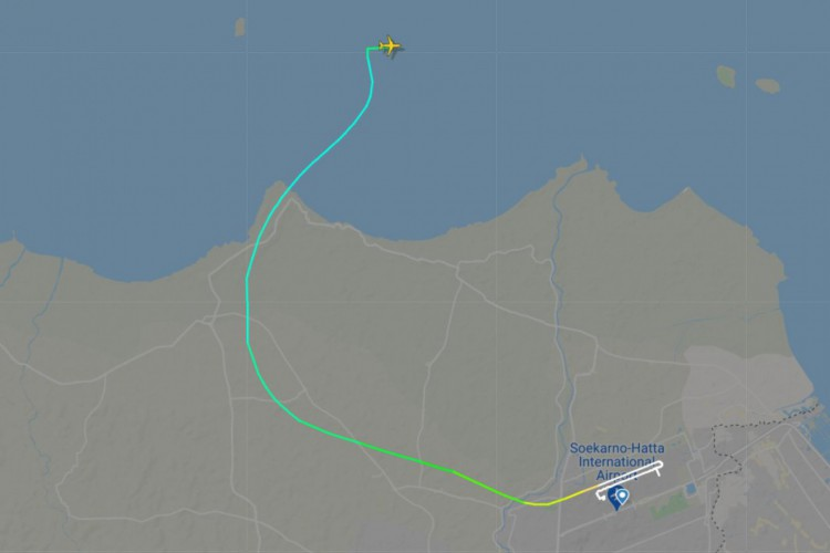 En el último registro en la red de satélites, Srivijaya Air voló en el mar en Indonesia (Foto: Reconstrucción / Twitter / Flytradar 24)