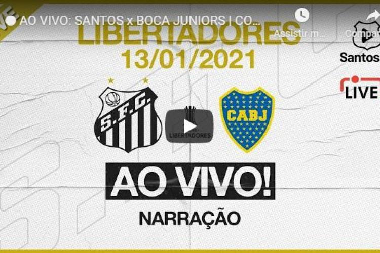 Youtube oficial do Santos faz hoje a transmissão ao vivo, sem imagens, do jogo de volta do time paulista contra o Boca Juniors, pela Libertadores (Foto: Reprodução/ YouTube Santos Futebol Clube)