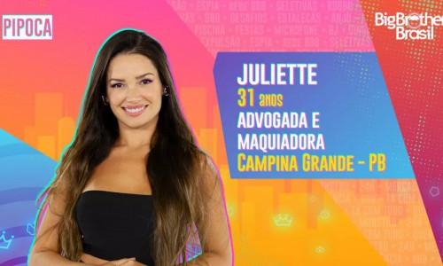 """Juliete é advogada e maquiadora, e integrante do grupo """"Pipoca"""" neste Big Brother Brasil 21 (BBB21)"""
