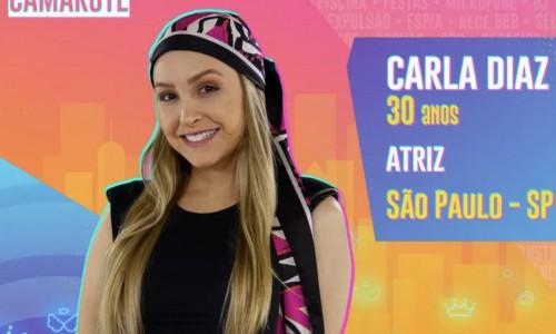 Carla Diaz é uma atriz brasileira, tem 30 anos. Ela compõe o grupo camarote do reality