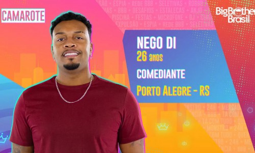 O humorista Nego Di, de 26 anos, chegou a se inscrever para participar do BBB em 2016, mesmo ano em que começou a carreira no humor