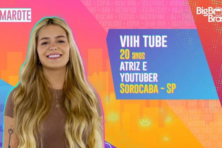 Vitória Moraes, conhecida como Viih Tube, é uma atriz e youtuber brasileira e tem 20 anos. Ela tem 16 milhões de seguidores no Instagram e quase 11 milhões de inscritos no canal do Youtube; a atriz ficará no grupo Camarote do BBB21 (Foto: Divulgação/Rede Globo)