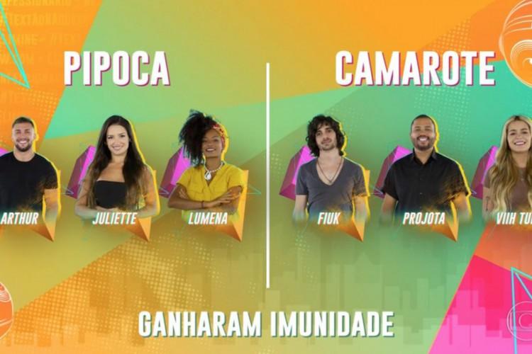 Os participantes mais votados pelo público ganharam a imunidade (Foto: Reprodução/Rede Globo)