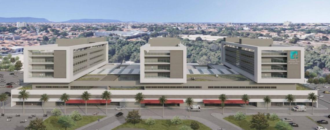 Maquete do Hospital Universitário do Ceará. O terreno é próximo à avenida Benjamin Brasil e será integrado à Universidade Estadual do Ceará (Uece).