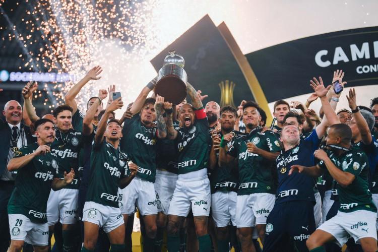 Palmeiras foi campeão da Libertadores 2020; jogos do times foram transmitidos pela Conmebol TV (Foto: MAURO PIMENTEL / AFP)