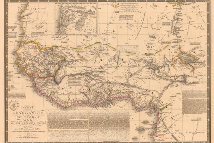 Mapa com as Montanhas Kong feito por Adrien Hubertem Brué, em 1828 (Foto: Reprodução/Princeton Library)