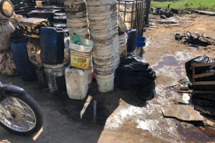 Polícia Civil fecha empresa clandestina de coleta e armazenagem de óleo vegetal (Foto: Divulgação/Polícia Civil )