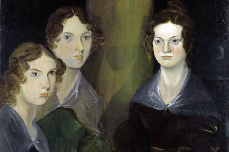 As três irmãs Brontë, retratadas por Patrick Brontë. Da esquerda para a direita: Anne, Emily e Charlotte.
