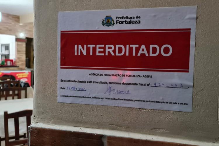19 estabelecimentos foram interditados no fim de semana de Carnaval em Fortaleza (Foto: DIVULGAÇÃO AGEFIS)