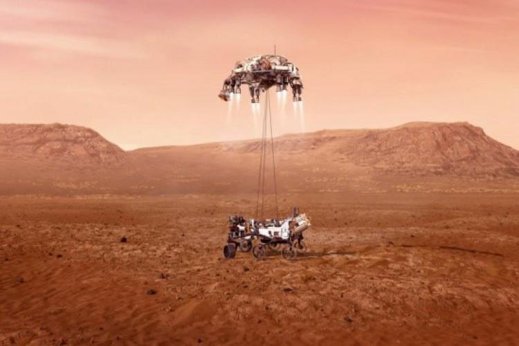 """Nos chamados """"sete minutos de terror"""", diversas etapas do pouso do robô Perseverance em Marte acontecem sem intervenção da equipe de controle da Nasa (Foto: Divulgação/NASA)"""