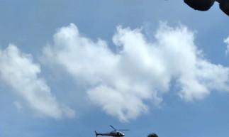 Aeronave sobrevoou o local da ocorrência, em Caucaia
