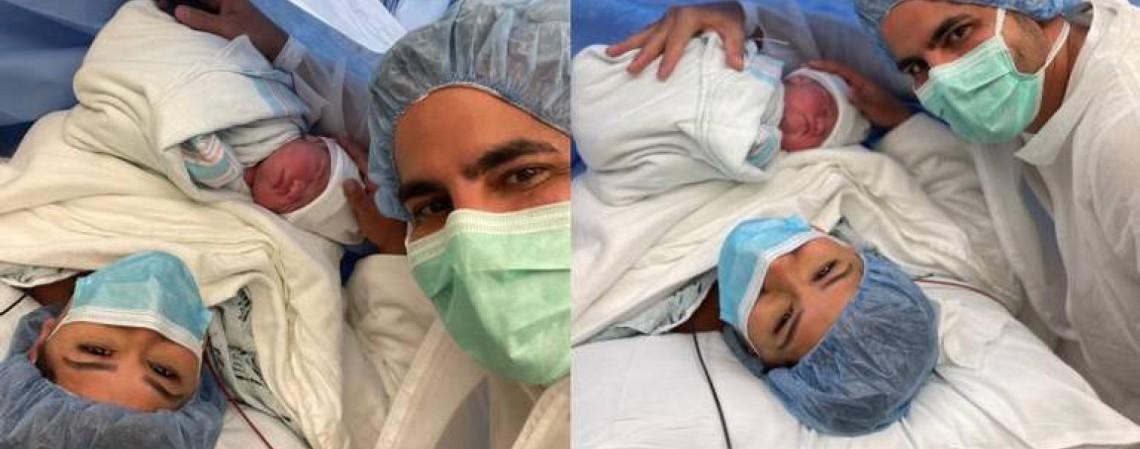 O casal Simone Mendes e Kaká Diniz com sua filha recém-nascida, Zaya, nesta terça-feira, 23 (Foto: Divulgação)