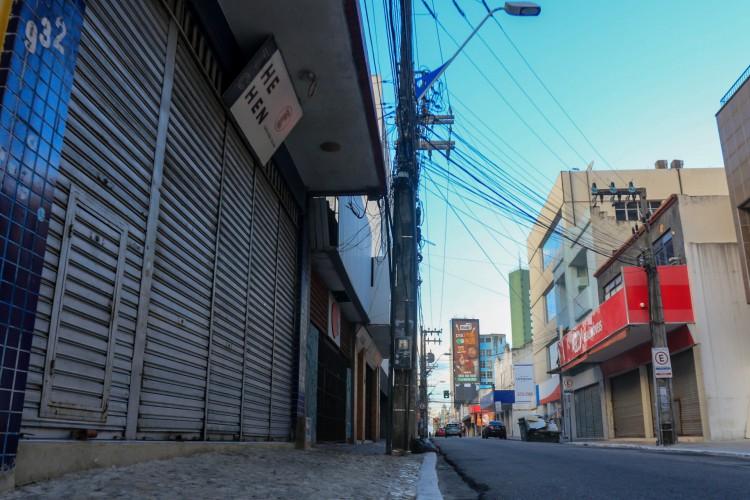 Comércio da Capital foi fechado no decreto que estabeleceu lockdown no Estado, tanto em 2020 quanto neste ano (Foto: BÁRBARA MOIRA)