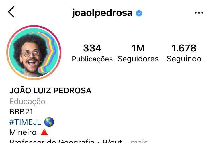 Perfil no Instagram de João Luiz Pedrosa, do
