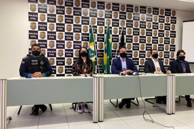 Coletiva de imprensa da Polícia Civil do Estado do Ceará (PCCE) (Foto: Angélica Feitosa)