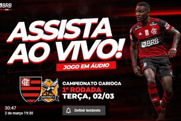 Jogo de estreia do Flamengo no Carioca 2021 terá transmissão online e de graça pelo canal do time no YouTube, sem imagens (Foto: Reprodução/ FlaTV)