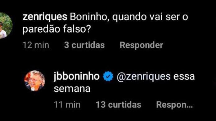 Boninho confirma paredão falso ao seguidor em interação na rede social