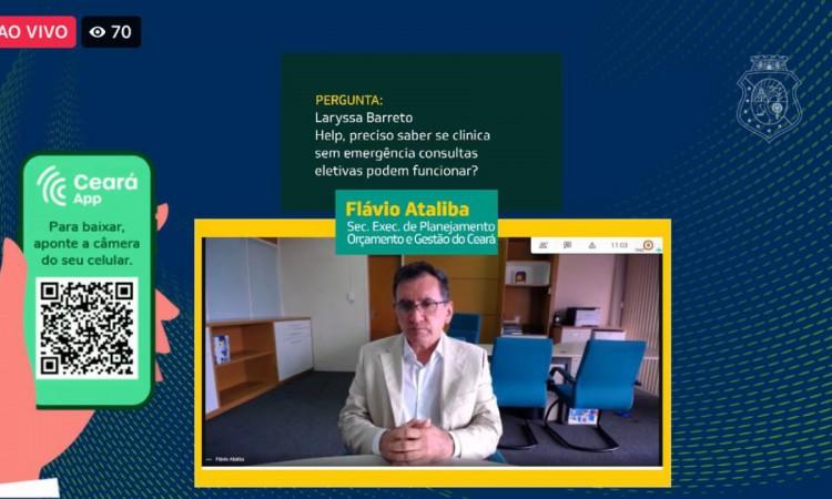 Live do secretário executivo de Planejamento e Orçamento (Seplag), Flávio Ataliba.