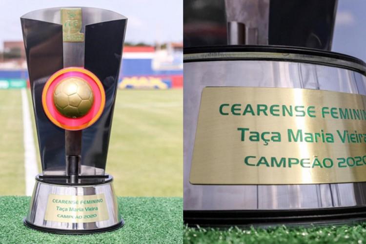 Taça Maria Vieira é dada ao time campeão do Campeonato Cearense Feminino.  (Foto: Pedro Chaves)