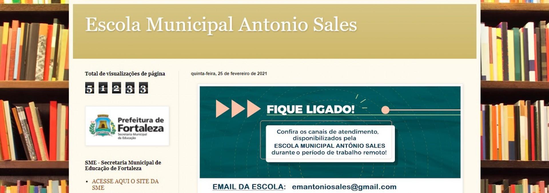 Escola cria blog para reunir informações educacionais durante a pandemia da Covid-19(Foto: Reprodução / Blog Escola Antônio Sales)