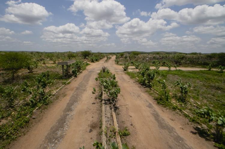Estrada de acesso à antiga Jaguaribara