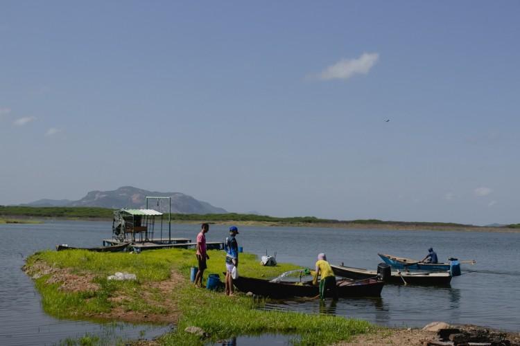 Castanhão é o maior reservatório de água do Estado. Volume atual é de pouco mais de 13%. (Foto: Aurelio Alves)