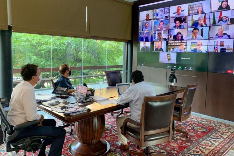 A reunião aconteceu virtualmente no fim da tarde desta quinta-feira. (Foto: Reprodução/Twitter)