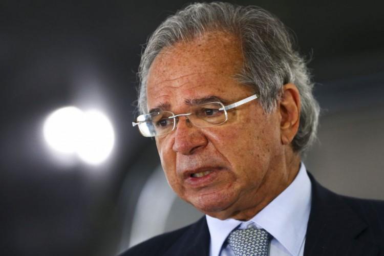 O ministro da Economia, Paulo Guedes, durante entrevista coletiva no Palácio do Planalto. (Foto: Marcelo Camargo/Agência Brasil)