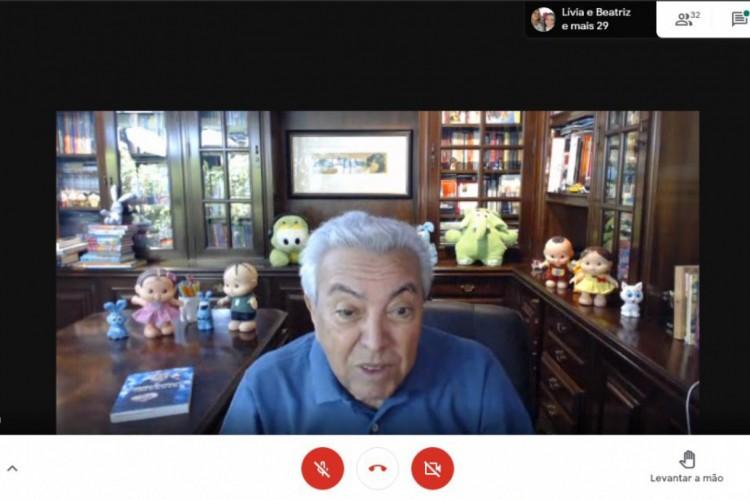 Maurício de Sousa durante conversa com alunos de Caucaia (Foto: Reprodução /Google Meet)